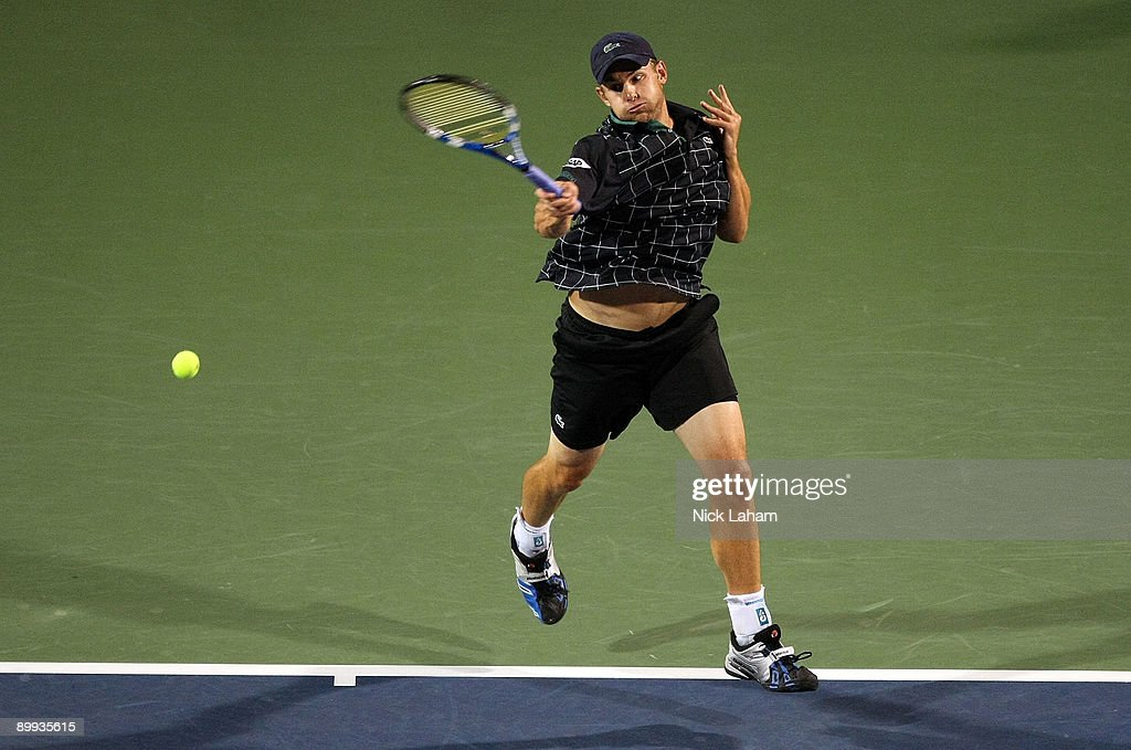 Andy Roddick hits a forehand against Sam Querrey during day three of the Western & Southern Financial Group Masters on August 19, 2009 at the Lindner Family Tennis Center in Cincinnati, Ohio.