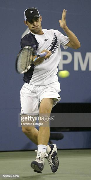 Andy Roddick hits a forehand against Xavier Malisse during Day 10 of the US Open Tennis Tournament. Roddick defeated Malisse 6-3, 6-4, 7-6.