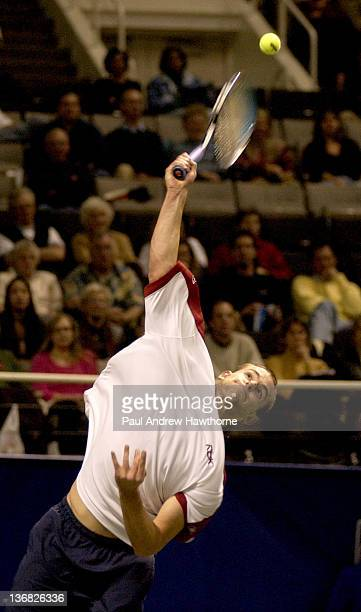 Andy Roddick hits a serv during his match with Kristof Vliegen of Belgium at the 2004 Siebel Open in San Jose, California, February 12, 2004. Roddick...