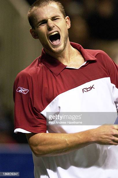 Andy Roddick is unhappy with his failed attempt at winning a match point during his finals match with Mardy Fish at the 2004 Siebel Open in San Jose...