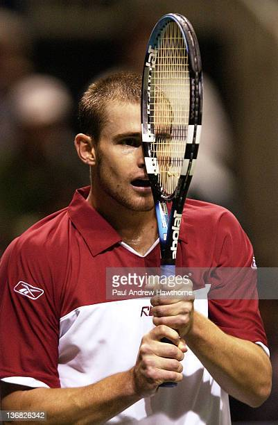 Andy Roddick is unhappy with his failed attempt at winning a point during his finals match with Mardy Fish at the 2004 Siebel Open in San Jose...