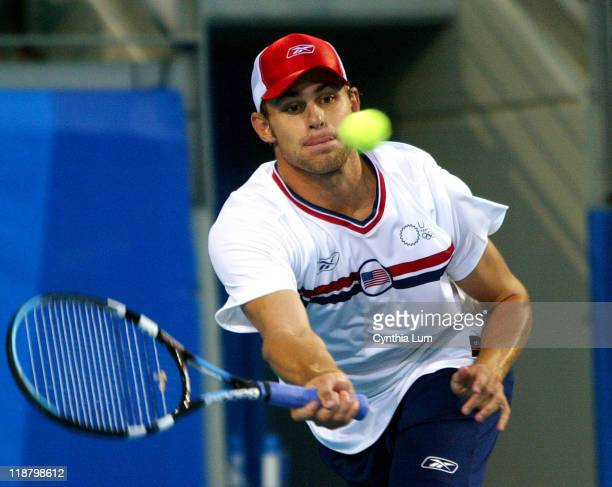 Andy Roddick of the United States defeats Tommy Haas of Germany 4-6, 6-3, 9-7 during the Athens 2004 Olympics Games at Goudi Olympic Hall in Athens,...