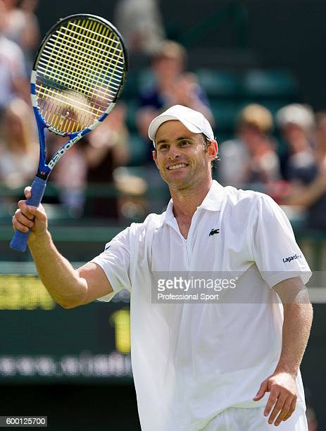 Andy Roddick of the United States in action during his match against Andreas Beck of Germany on Day Two of the Wimbledon Lawn Tennis Championships at...