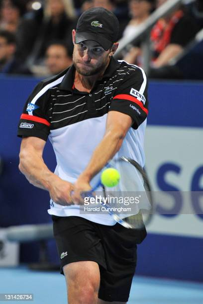 Andy Roddick of the United States in action during his quarter-final match against Roger Federer of Switzerland during day five of the Swiss Indoors...