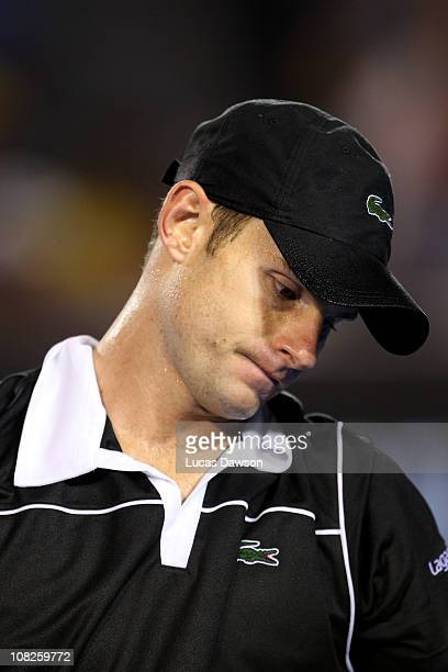 Andy Roddick of the United States of America looks on in his fourth round match against Stanislas Wawrinka of Switzerland during day seven of the...