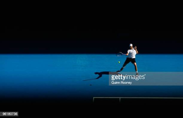 Andy Roddick of the United States of America plays a forehand in his quarterfinal match against Marin Cilic of Croatia during day nine of the 2010...