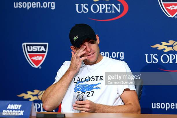 Andy Roddick of the United States reacts during a post match press conference following his men's singles fourth round match against Juan Martin Del...