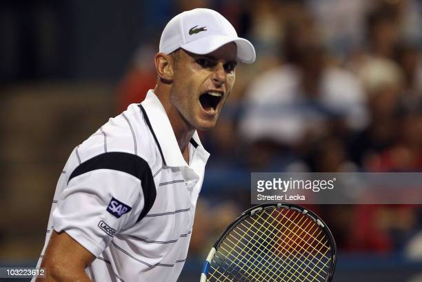 Andy Roddick of the USA celebrates after a 6-4,6-4 victory over Grega Zemlja of Slovenia during day 2 of the Legg Mason Tennis Classic at the William...