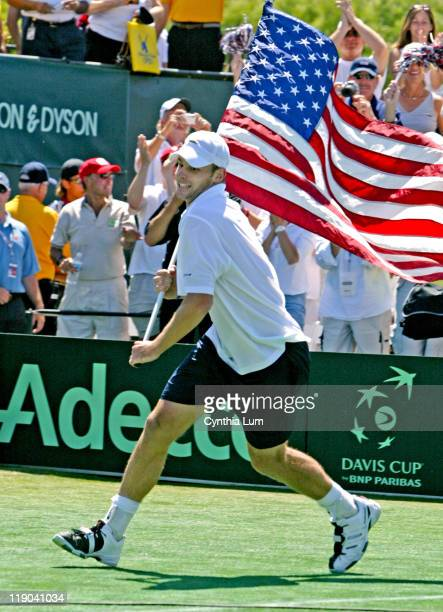 Andy Roddick of the USA Davis Cup team, in action defeating Fernando Gonzalez of Chili, winning the Davis Cup tie for the US, played at the Mission...