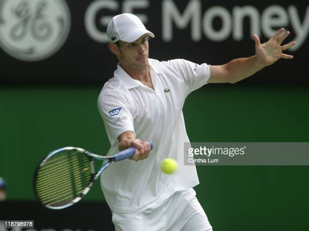 Andy Roddick of the USA in action defeating Marc Gicquel of France 63 76 64 in the second round of the Australian Open Melbourne Australia