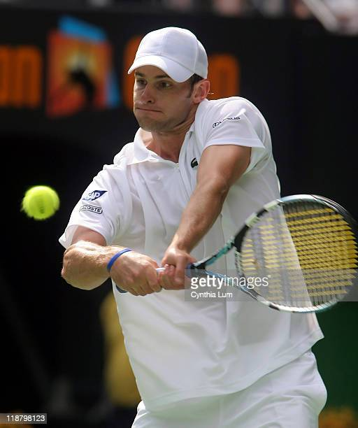 Andy Roddick of the USA in action defeating Mardy Fish of the USA 62 62 62 in the quarter final of the Australian Open Melbourne Australia on January...