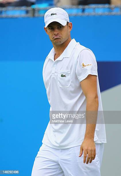 Andy Roddick of the USA reacts during his mens singles second round match against Edouard RogerVasselin of France on day three of the AEGON...