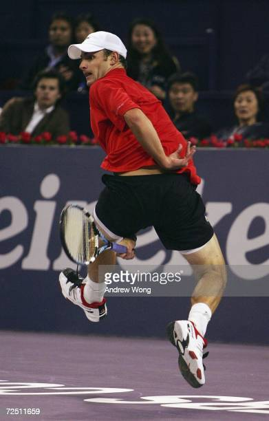 Andy Roddick of the USA returns a shot against Ivan Ljubicic of Croatia during the round robin of the Tennis masters Cup Shanghai on November 12,...