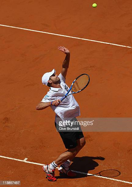 Andy Roddick of the USA serves during his first round match against Gilles Simon of France during day two of the Internazoinali BNL D'Italia at the...