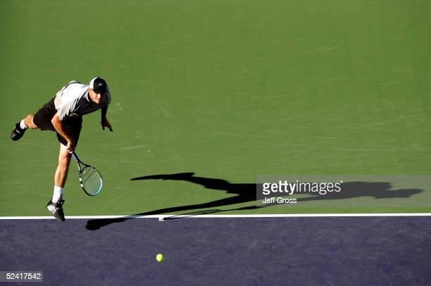 Andy Roddick of the USA serves to Jiri Novak of the Czech Republic during the Pacific Life Open at the Indian Wells Tennis Garden on March 14, 2005...
