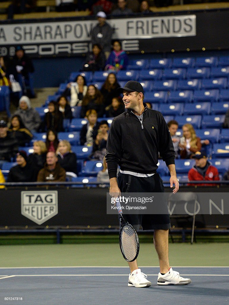Andy Roddick of USA attends the Maria Sharapova and Friends tennis exhibition at UCLA on December 12, 2015 in Los Angeles, California.