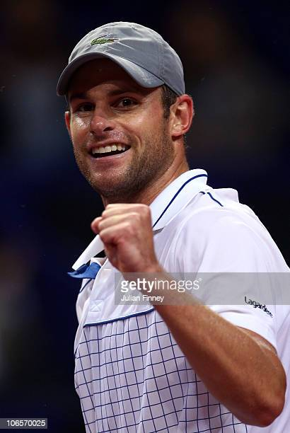 Andy Roddick of USA celebrates defeating David Nalbandian of Argentina during Day Five of the Davidoff Swiss Indoors Tennis at St Jakobshalle on...