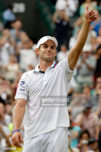 Andy Roddick of USA celebrates match point during his match against Philipp Kohlschreiber of Germany on Day Five of the Wimbledon Lawn Tennis...