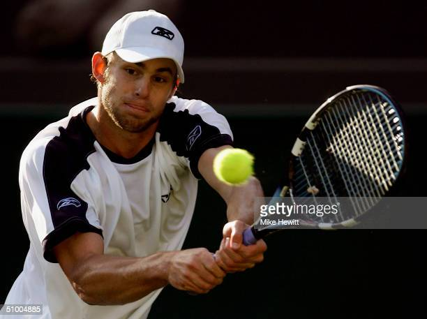 Andy Roddick of USA in action during his fourth round match against Alexander Popp of Germany at the Wimbledon Lawn Tennis Championship on June 28...