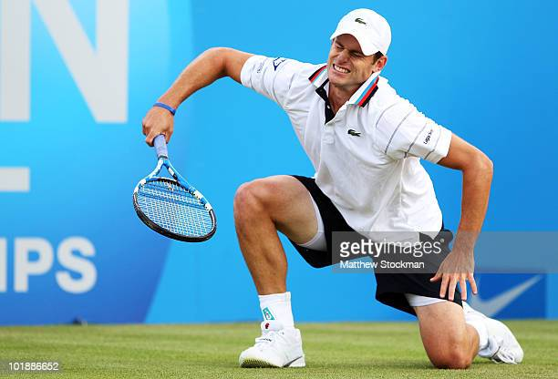 Andy Roddick of USA reacts during his second round match against Igor Kunitsyn of Russia on Day 2 of the the AEGON Championships at Queen's Club on...