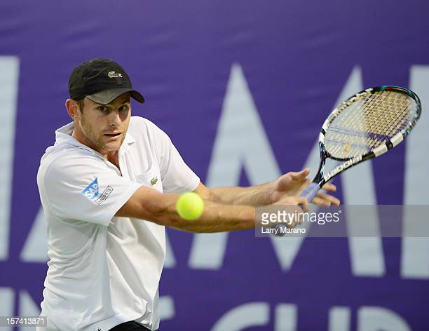 Andy Roddick participates in the inaugural Miami Tennis Cup at Crandon Park Tennis Center on December 2 2012 in Key Biscayne Florida