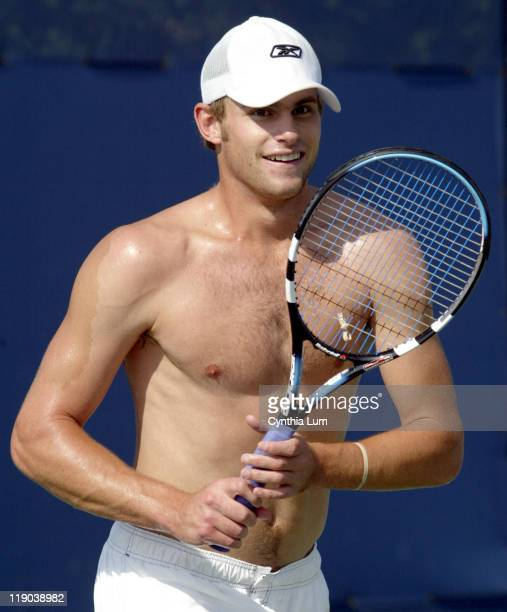 Andy Roddick practices at the USTA National Tennis Center in Flushing New York on September 4 2004