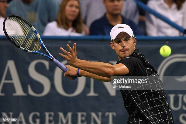 Andy Roddick returns a shot against Benjamin Becker of Germany during Day 3 of the Legg Mason Tennis Classic at the William H.G. FitzGerald Tennis...
