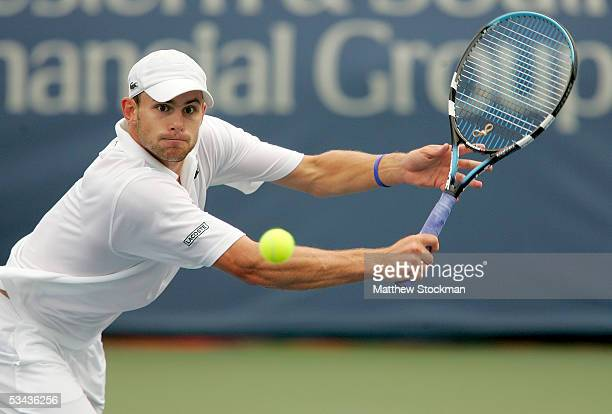Andy Roddick returns a shot to Juan Ignacio Chela of Argentina during the Western Southern Financial Group Masters on August 18 2005 the Lindner...