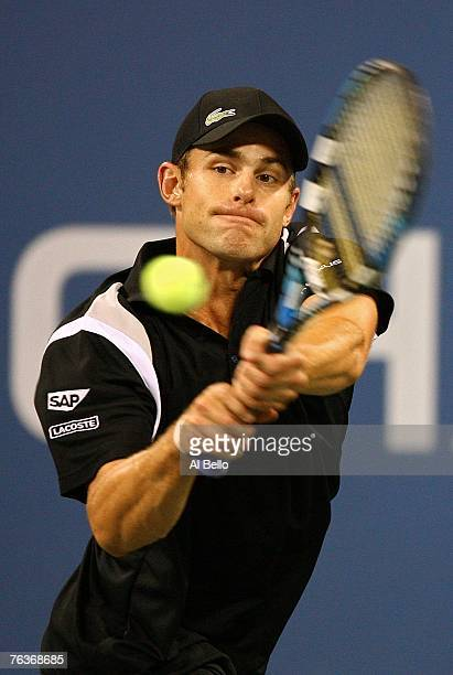 Andy Roddick returns a shot to Justin Gimelstob during day two of the 2007 US Open at the Billie Jean King National Tennis Center on August 28 2007...