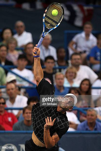 Andy Roddick serves against Benjamin Becker of Germany during Day 3 of the Legg Mason Tennis Classic at the William H.G. FitzGerald Tennis Center...