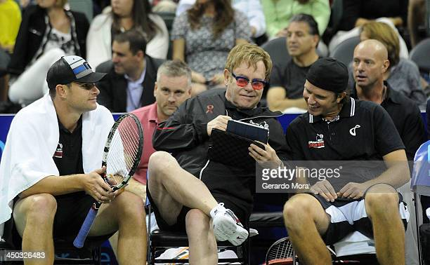 Andy Roddick Singer Sir Elton John and Robert Kendrick smile during the Mylan World TeamTennis Matches at ESPN Wide World of Sports Complex on...