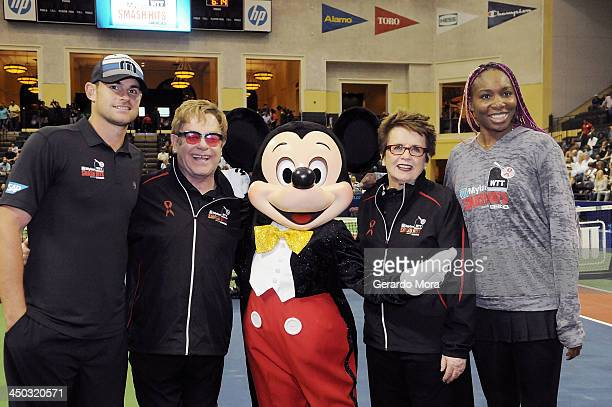 Andy Roddick Singer Sir Elton John tennis legend Billie Jean King and Venus Williams pose with Disney character Mickey Mouse during the Mylan World...