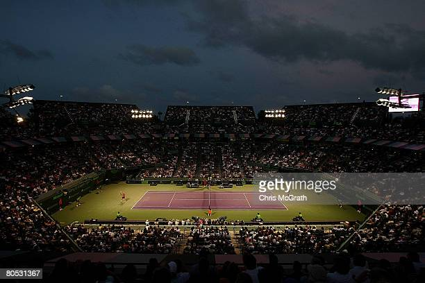 Andy Roddick takes on Nikolay Davydenko of Russia during the men's singles semifinal on day twelve of the Sony Ericsson Open at the Crandon Park...