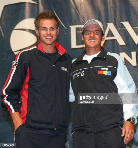 Andy Roddick USA Andrei Pavel ROM The USTA held the Draw Ceremony for the Davis Cup by BNP Paribas first round between the US and Romania Thursday at...