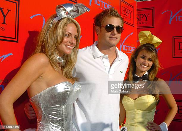 Andy Roddick with Playboy Playmates during Andy Roddick Hosts 13th Annual ESPY Awards PreParty Arrivals at Playboy Mansion in Beverly Hills...