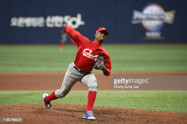 Andy Rodriguez of Cuba pitches in the top of eighth inning during the WBSC Premier 12 Opening Game Group C game between Cuba and Canada at the...