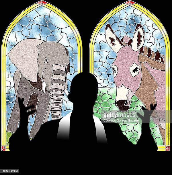 Andy Rohrback color illustration of shadow of priest in front of two stainedglass windows one a Republican elephant the other a Democratic donkey The...