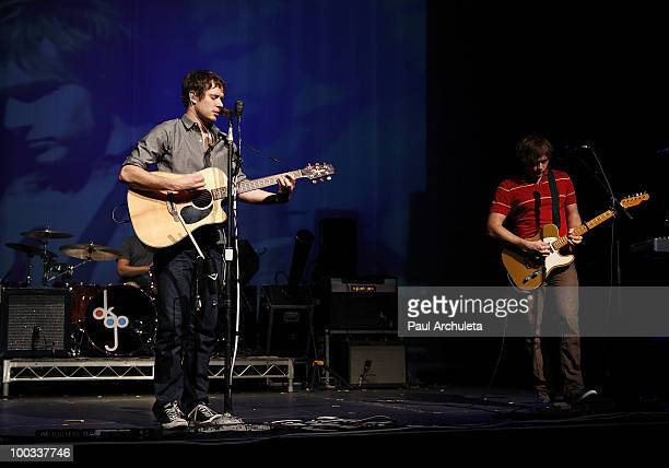 Andy Ross Damian Kulash of OK Go performs a sound check for the LA Recording Academy and GRAMMY Foundation at The Music Box at the Fonda Hollywood on...