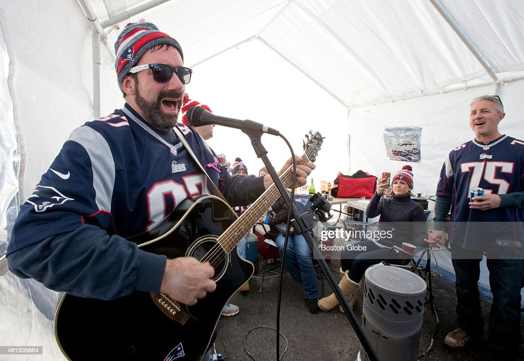 Andy Ross of Falmouth Mass. jams in a tent tailgating before the  sc 1 st  Getty Images & Baltimore Ravens Vs. New England Patriots At Gillette Stadium ...