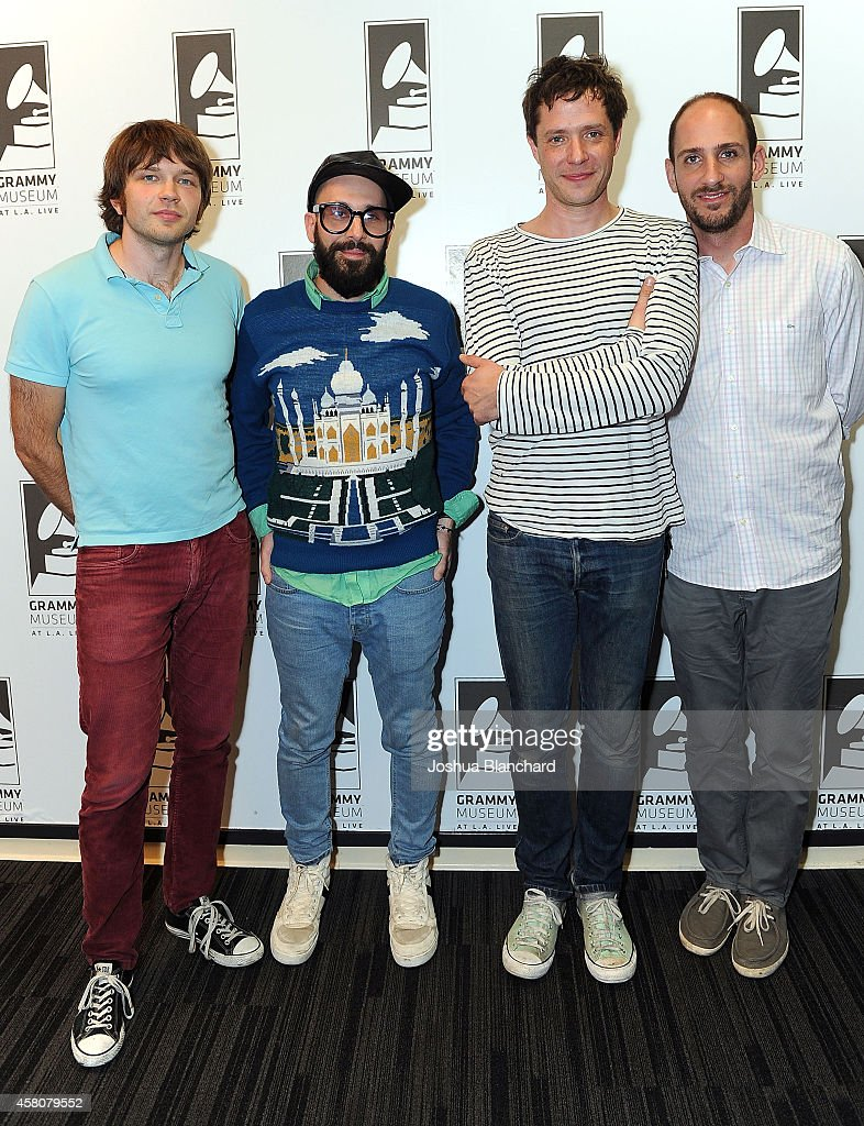 Andy Ross, Tim Nordwind, Damian Kulash and Dan Konopka of OK Go attend The GRAMMY Museum Presents The Drop: OK Go at The GRAMMY Museum on October 29, 2014 in Los Angeles, California.