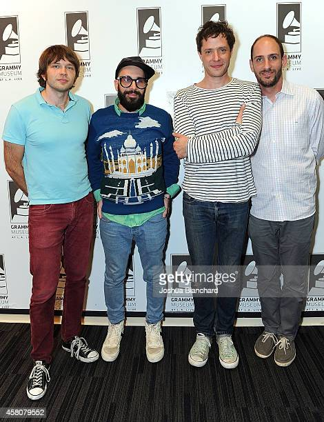 Andy Ross Tim Nordwind Damian Kulash and Dan Konopka of OK Go attend The GRAMMY Museum Presents The Drop OK Go at The GRAMMY Museum on October 29...