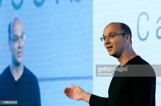 Andy Rubin senior vicepresident of Google Inc's mobile division speaks during the launch event for the Samsung Electronics Co Galaxy Nexus smartphone...