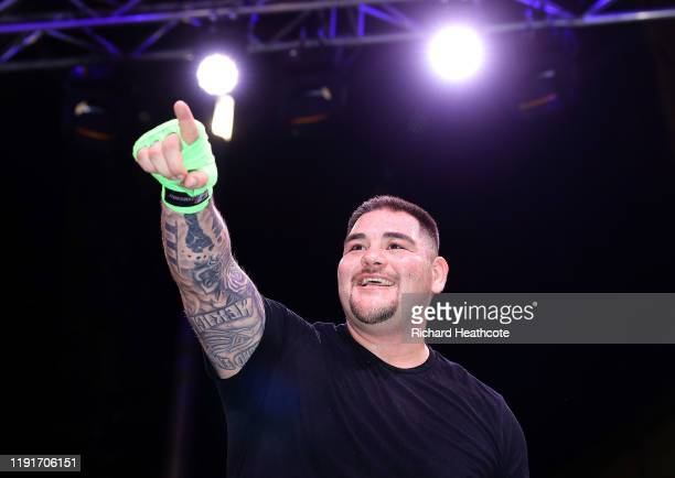 Andy Ruiz Jr acknowledges after his work out ahead ahead of the IBF WBA WBO IBO World Heavyweight Title Fight between Andy Ruiz Jr and Anthony Joshua...