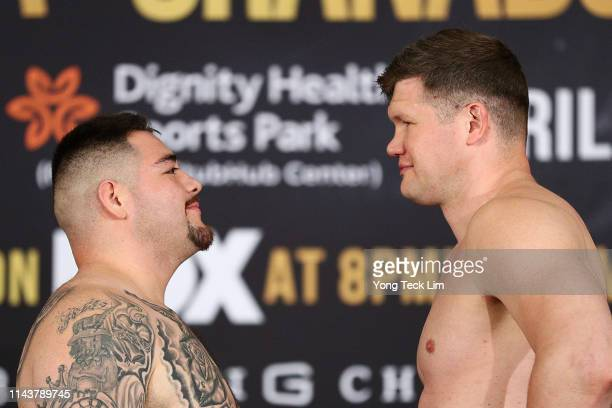 Andy Ruiz Jr and Alexander Dimitrenko face off during their official weighin ahead of their heavyweight bout at Sheraton Gateway Hotel on April 19...