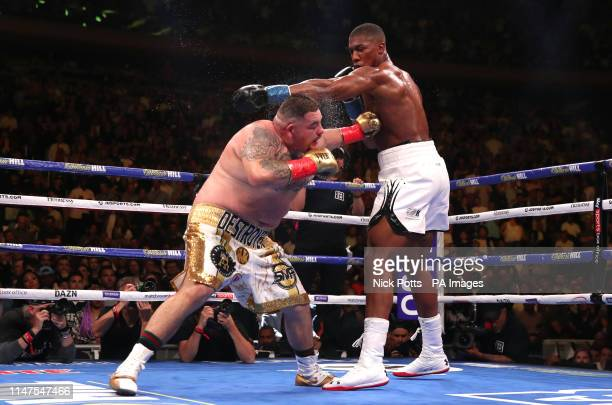 Andy Ruiz Jr and Anthony Joshua during the WBA IBF WBO and IBO Heavyweight World Championships title fight at Madison Square Garden New York