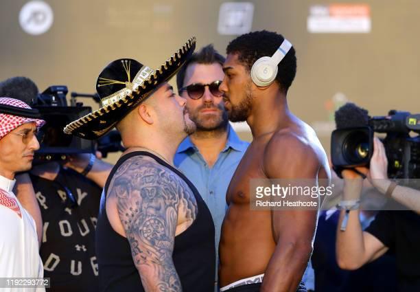 Andy Ruiz Jr and Anthony Joshua face off ahead of the IBF WBA WBO IBO World Heavyweight Title Fight between Andy Ruiz Jr and Anthony Joshua during...