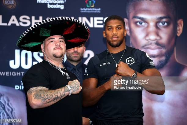 Andy Ruiz Jr and Anthony Joshua pose for a photo during the press conference for Andy Ruiz Jr v Anthony Joshua 2 'Clash on the Dunes' at the Hilton...