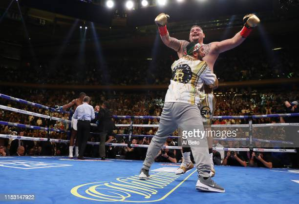 Andy Ruiz Jr celebrates his seventh round tko against Anthony Joshua after their IBF/WBA/WBO heavyweight title fight at Madison Square Garden on June...