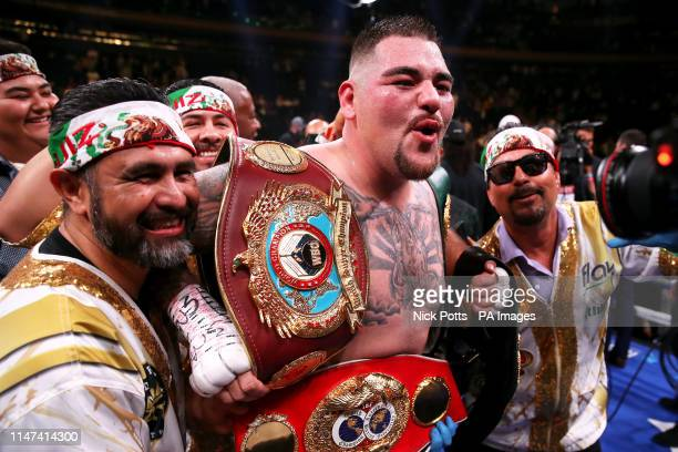 Andy Ruiz Jr celebrates the win in the WBA IBF WBO and IBO Heavyweight World Championships title fight at Anthony Joshua at Madison Square Garden New...