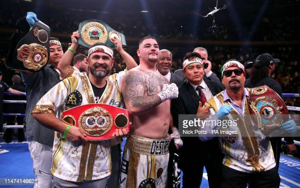 Andy Ruiz Jr celebrates the win in the WBA IBF WBO and IBO Heavyweight World Championships title fight against Anthony Joshua at Madison Square...